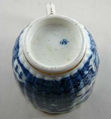 Caughley coffee cup blue printed Temple pattern ribbed
