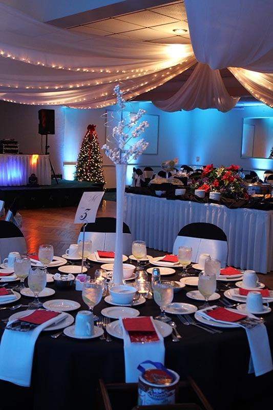 Wedding hall decor and lighting