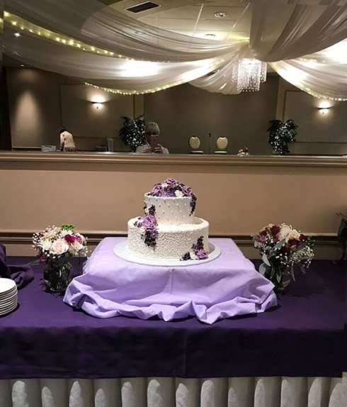 Wedding cake with purple accents