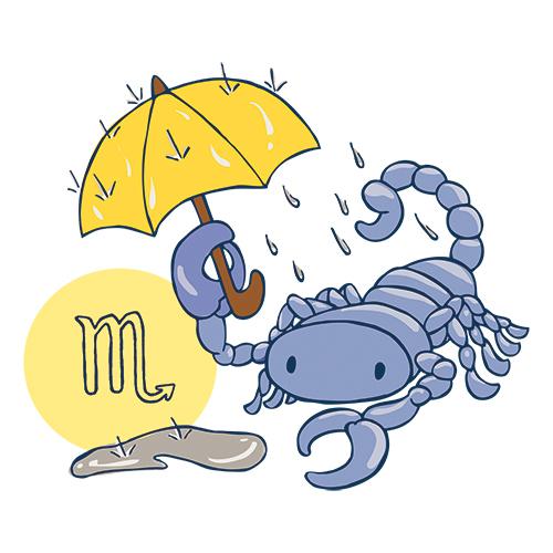 Sternzeichen Skorpion mit Regenschirm