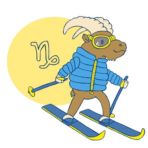 Sternzeichen Steinbock auf Ski