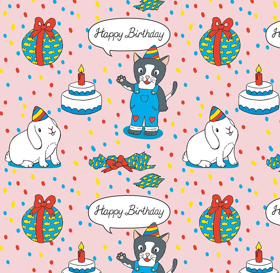 Pattern Geburtstag Katze