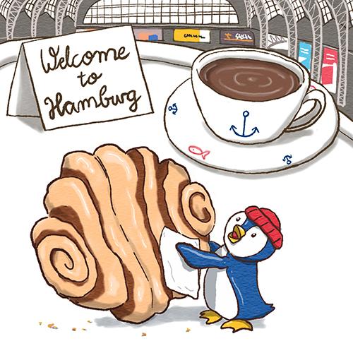 Sympathiefigur Welcome to Hamburg Franzbrötchen Pinguin