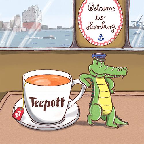 Figur Welcome to Hamburg Tee und Krokodil