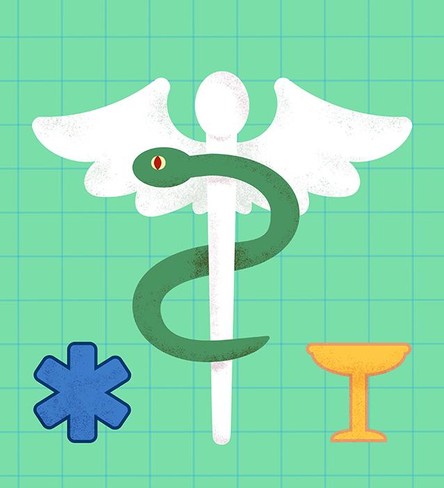 Grafik Symbol Gesundheit Medizin Pharmazie Asklepios Schlage Arzt Krankehaus Patricia Oettel Illustration