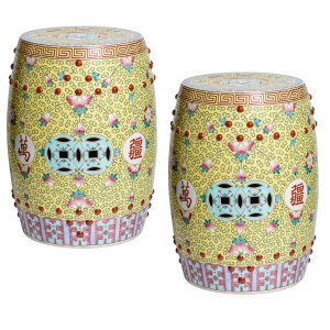 Chinese Famille Rose Garden Stools, A-Pair