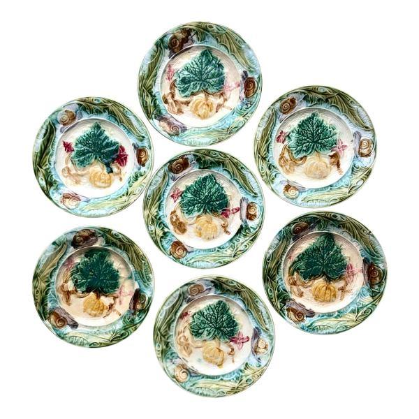 19thc-french-onnaing-majolica-snail-plates-c1890-1830-se-of-7-6067