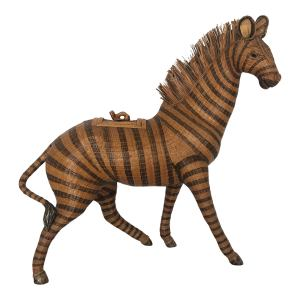 Early 20Th. C. Woven Wicker Zebra Box
