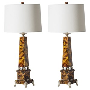 C.1970 Rare Pen Shell Obelisk Table Lamps, Custom Shades, A-Pair