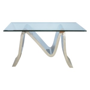 Mid Century Modern Zig Zag Form Polished Steel Console Table