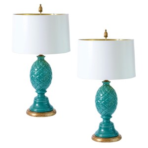 Italian Palm Beach Ceramic Teal Blue/Turquoise Pineapple Lamp, A-Pair