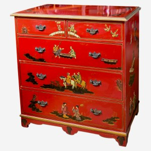 Early 20th. C. Chinoiserie Red Lacquer Chest of Drawers