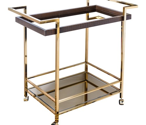 Mid Century Bar Cart, Leather Wrapped Tray With Smoked Mirror