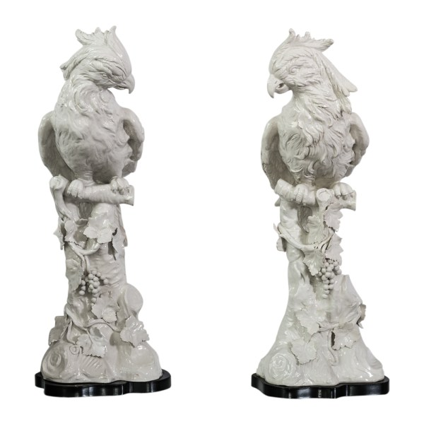 Italian Tall White Ceramic Cockatoo on Wood Base, A-Pair