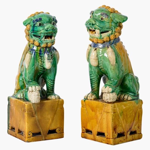 Chinese Antique Colored Glaze Ceramic Foo Dog - a Pair
