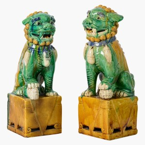 Chinese Antique Colored Glaze Ceramic Foo Dog - a Pair