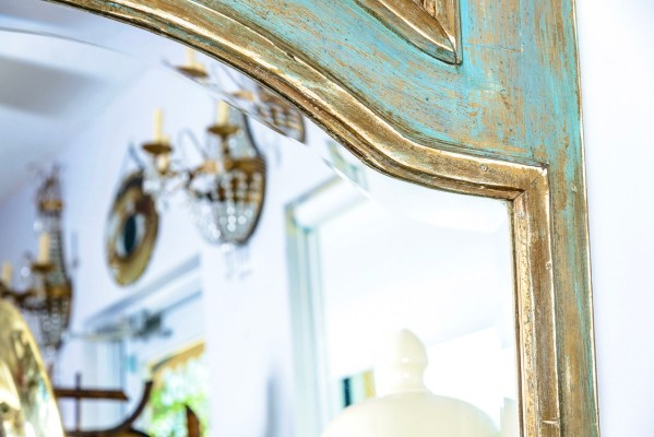 French Late 19th C Painted & Gilt Wood Floor Mirror/Trumeau