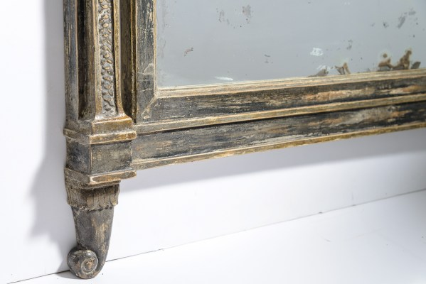 Neoclassical Swedish Painted Pediment Mirror With Caryatides & Garlands, Early 19Th. C.