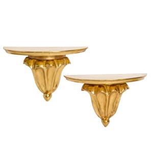 Antique French Water Gilt Wood Wall Sconces, A-Pair
