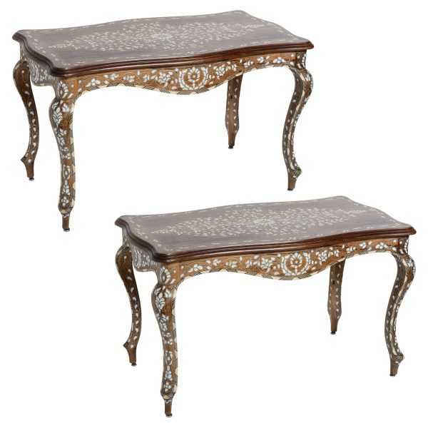 Antique Wood & Mother of Pearl Coffee Tables A-Pair