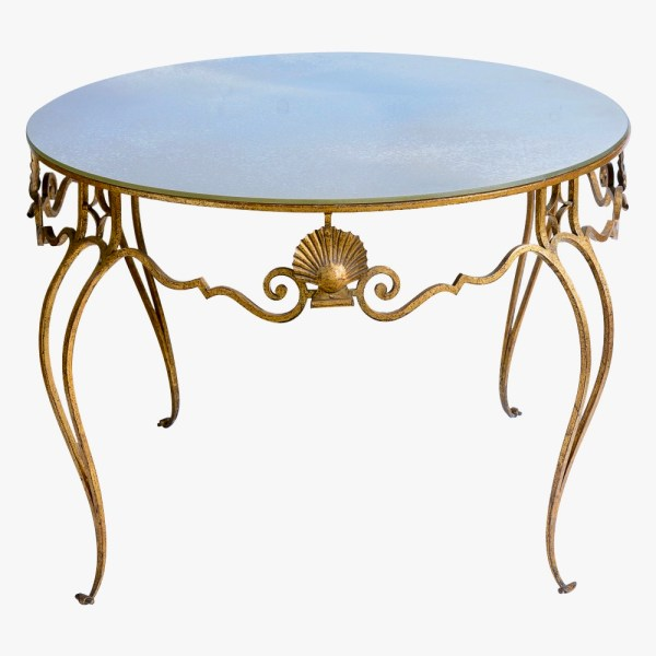 French C1940-1950 Gilt Metal Shell Coffee Table With Antique Mirror Top