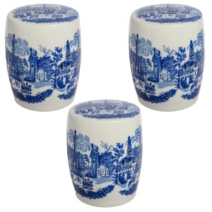 Neoclassical Blue & White Glazed Garden Seats, With Italian Pastoral Scenes, Set of 3