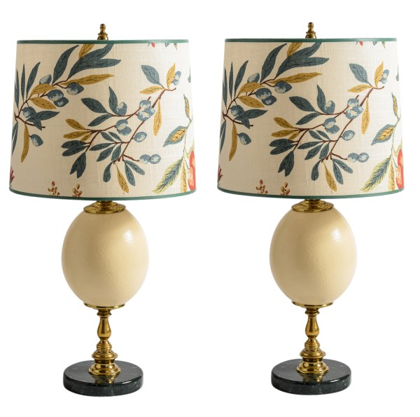 Antique French Ostrich Egg Table Lamps With Brass & Marble Base, A-Pair