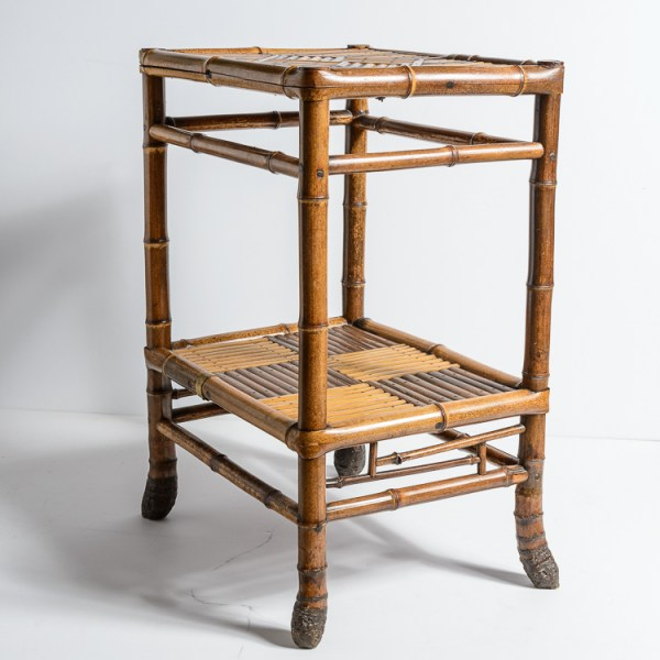 Antique English C.1900 2 Tier Intricate Geometric Decor Bamboo Side Table
