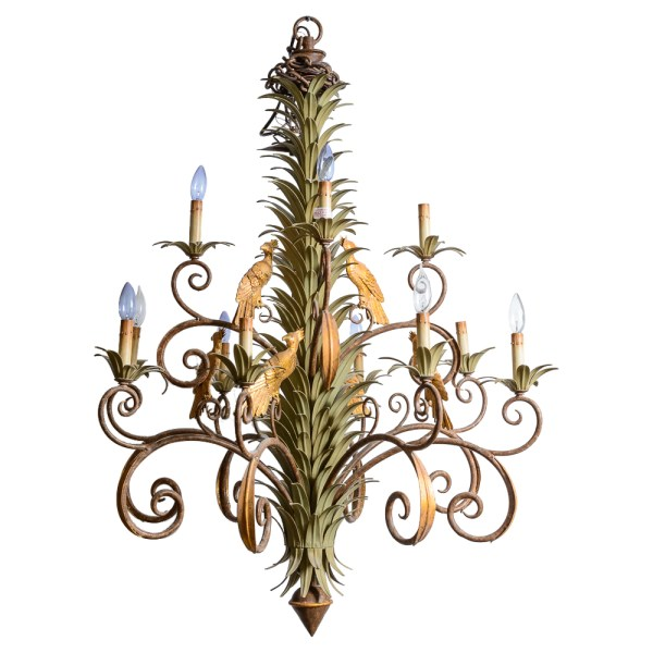 Early 20th. C, Italian Tole Palm & Parrots Large Chandelier, 1950's