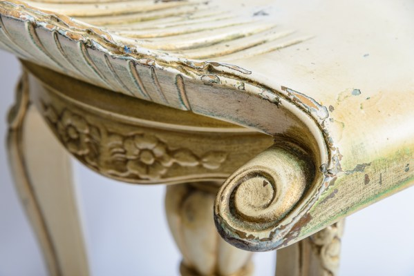 Venetian Painted Carved Wood Grotto Piano Stool, 19th. C.