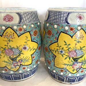 Antique Chinese Chinoiserie Turquoise & Yellow Ceramic Garden Seat, A-Pair