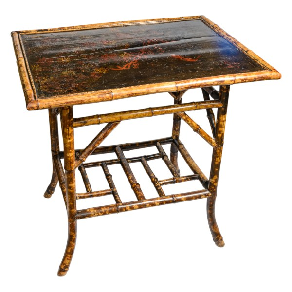 English Tortoise Shell Bamboo Large Two Tier Table, Late 19th. C.