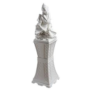 Italian Ceramic Chinoiserie Statue on Ceramic Stand
