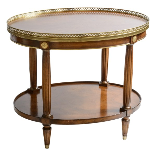 French Louis XVI Style Two Tier Oval Wood Side Table With Brass Gallery
