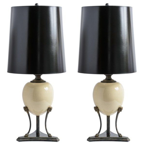 Neoclassical Porcelain Ostrich Egg Lamps on Ram Head Tripod Stand, A-Pair