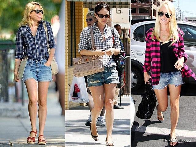 shorts jeans e camisa1 - No Verão com as pernocas de Fora