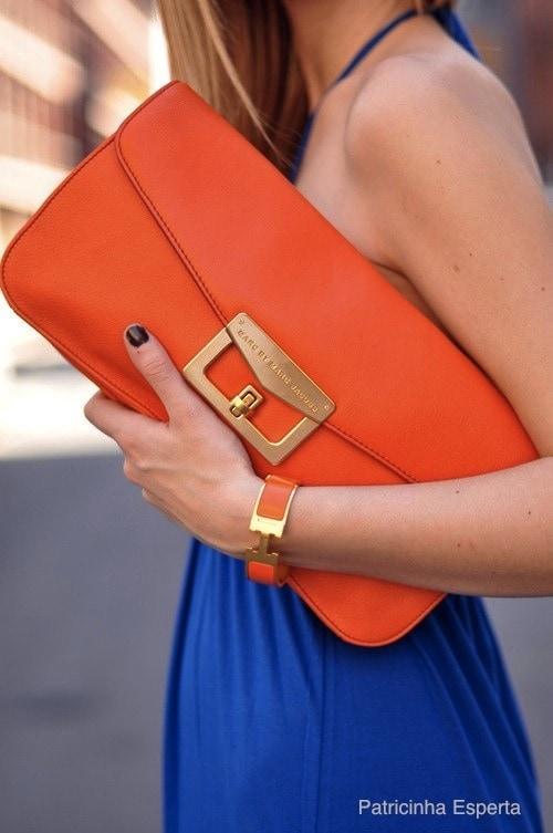 cluth laranja e vestido azul klein - As cores do verão!