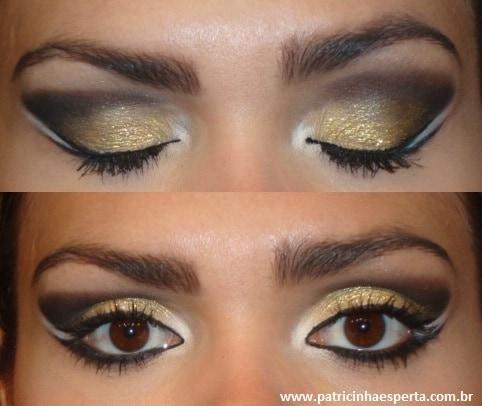025post - Tutorial - Maquiagem Dourada e Preta com Branco para Festas