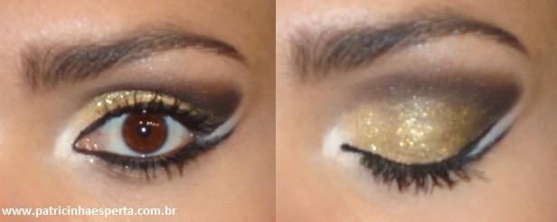 071.post  - Tutorial - Maquiagem Dourada e Preta com Branco para Festas