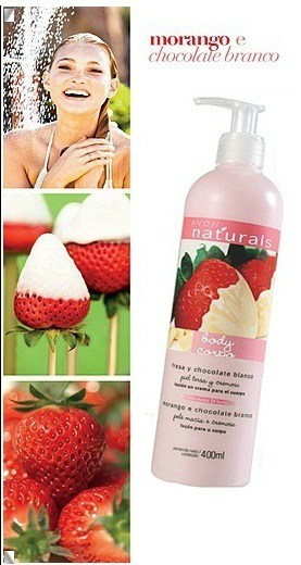 1334091359 11 - Linha Avon Naturals – Morango e Chocolate Branco: Hidratante Corporal