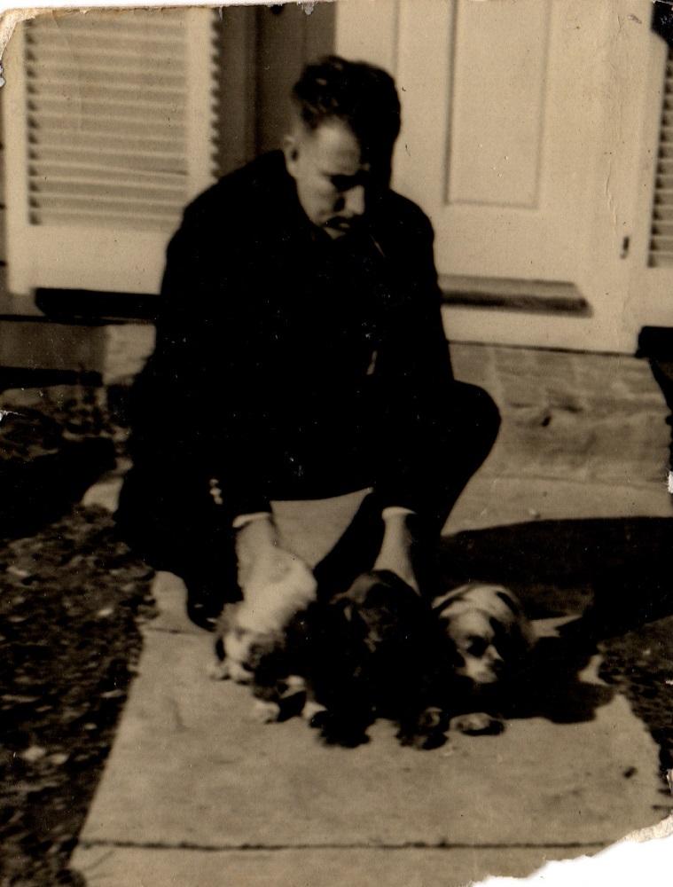 John and three dogs