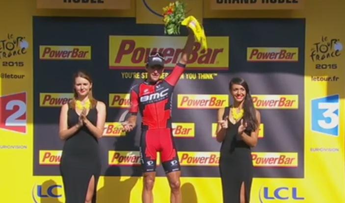 Winnaar Greg van Avermaet (BMC) op het podium