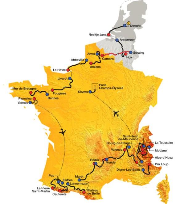 Overzicht etappes Tour de France