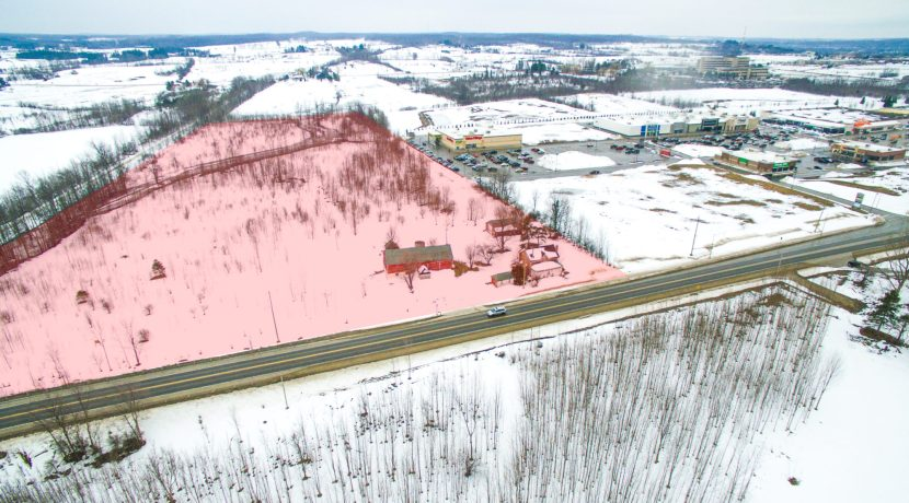 Aerial of Anne and Eric Strain Property with Highlighted subject area - owen sound