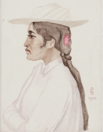 Unpublished watercolour by George Calderon, Tahiti 1906