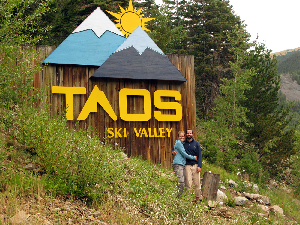 Safely back down at the Taos Ski resort.