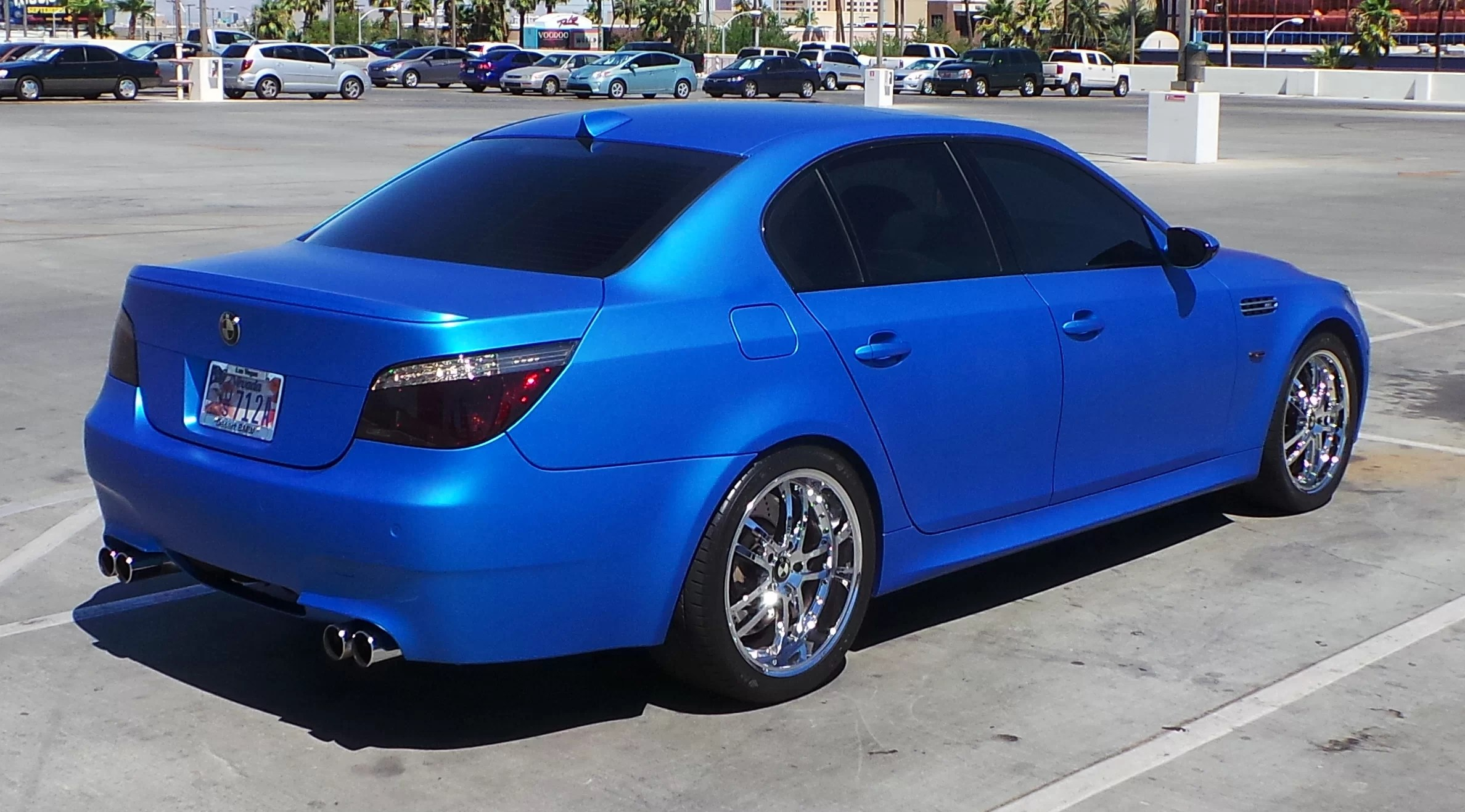 Blue Wrap Vinyl Electric Car