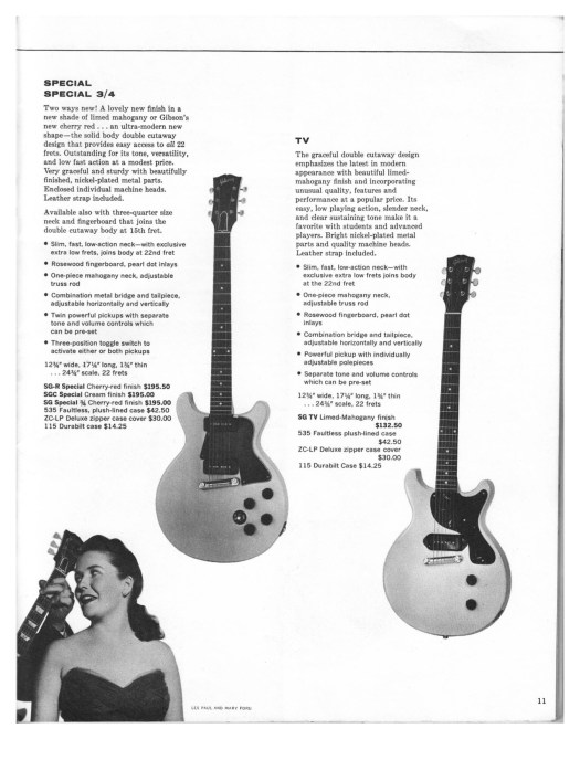 Distinguishing features of 1959-1961 Gibson Les Paul Special