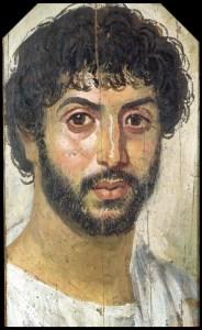 Gravporträtt, Fayum, Egypten. ca 100 evt. vax och pigment på träpannå