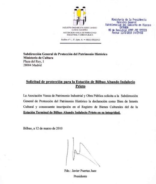 Copia sellada de la entrada del documento de solicitud de protección dirigida al Ministerio de Cultura